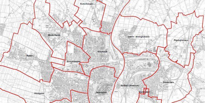 Minden_Karte Ausschnitt Stadtbezirke